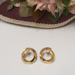 Vintage Gold tone & crystal earrings